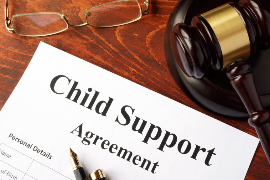 A child support agreement on a piece of paper for divorce reasons.